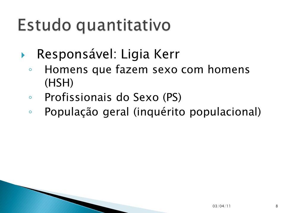  Responsável: Ligia Kerr ◦ Homens que fazem sexo com homens (HSH) ◦ Profissionais do Sexo (PS) ◦ População geral (inquérito populacional) 03/04/118