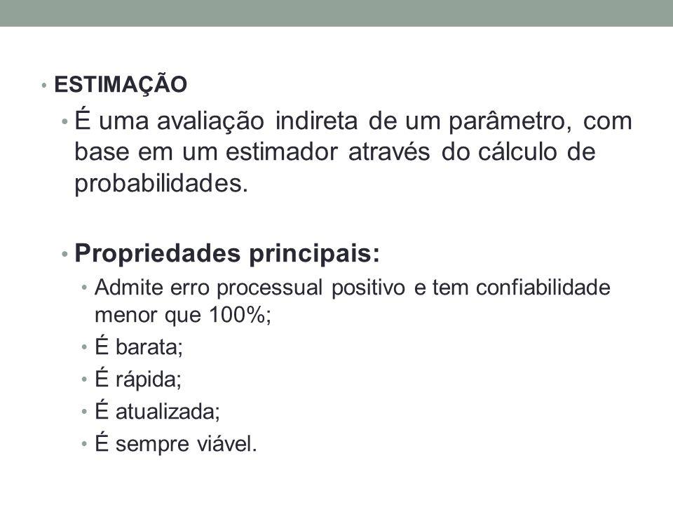 ESTIMAÇÃO É uma avaliação indireta de um parâmetro, com base em um estimador através do cálculo de probabilidades. Propriedades principais: Admite err