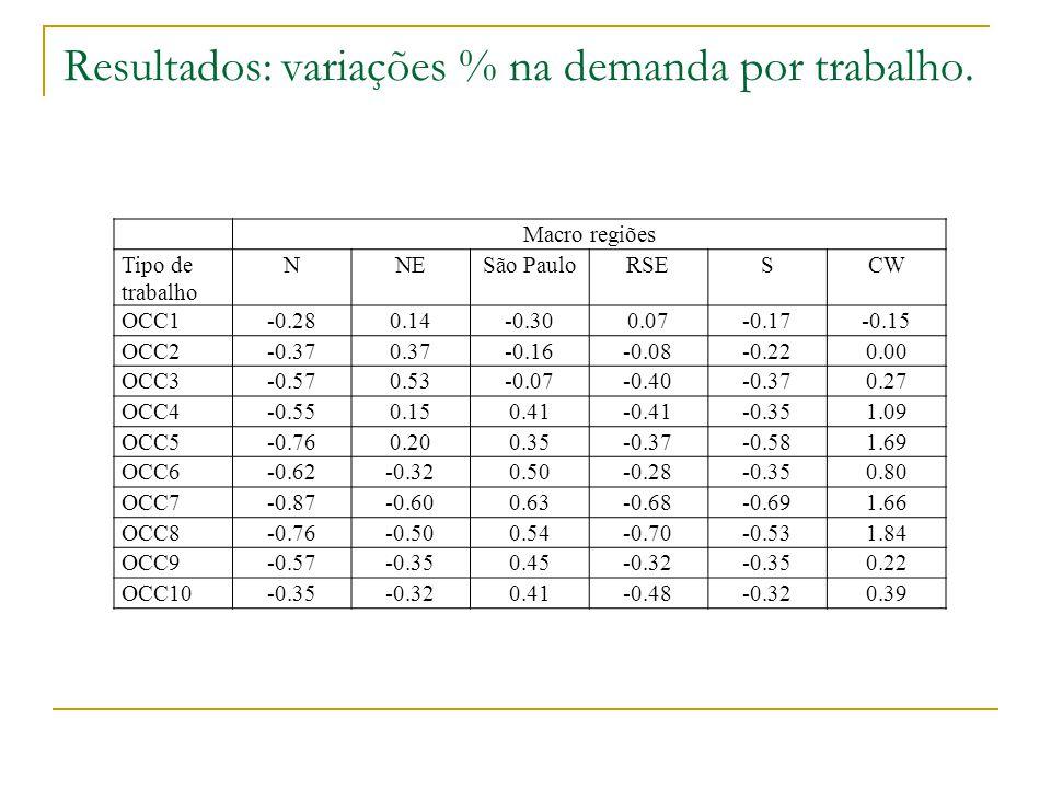Resultados: variações % na demanda por trabalho. Macro regiões Tipo de trabalho NNESão PauloRSESCW OCC1-0.280.14-0.300.07-0.17-0.15 OCC2-0.370.37-0.16
