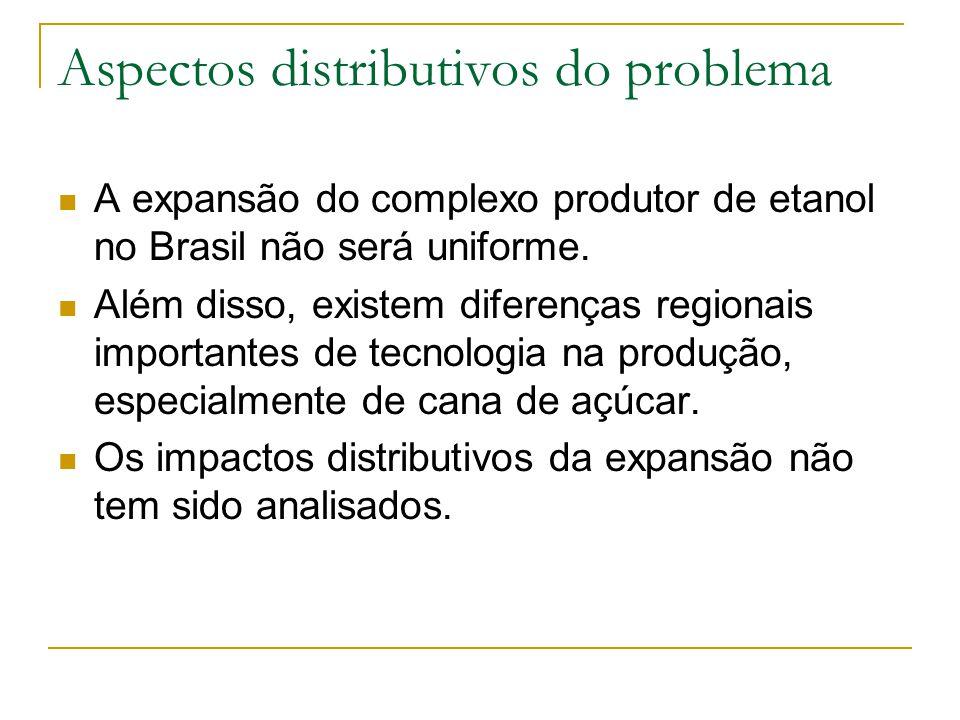 Aspectos distributivos do problema A expansão do complexo produtor de etanol no Brasil não será uniforme. Além disso, existem diferenças regionais imp