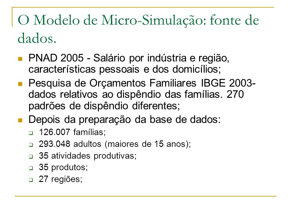 O Modelo de Micro-Simulação: fonte de dados. PNAD 2005 - Salário por indústria e região, características pessoais e dos domicílios; Pesquisa de Orçame