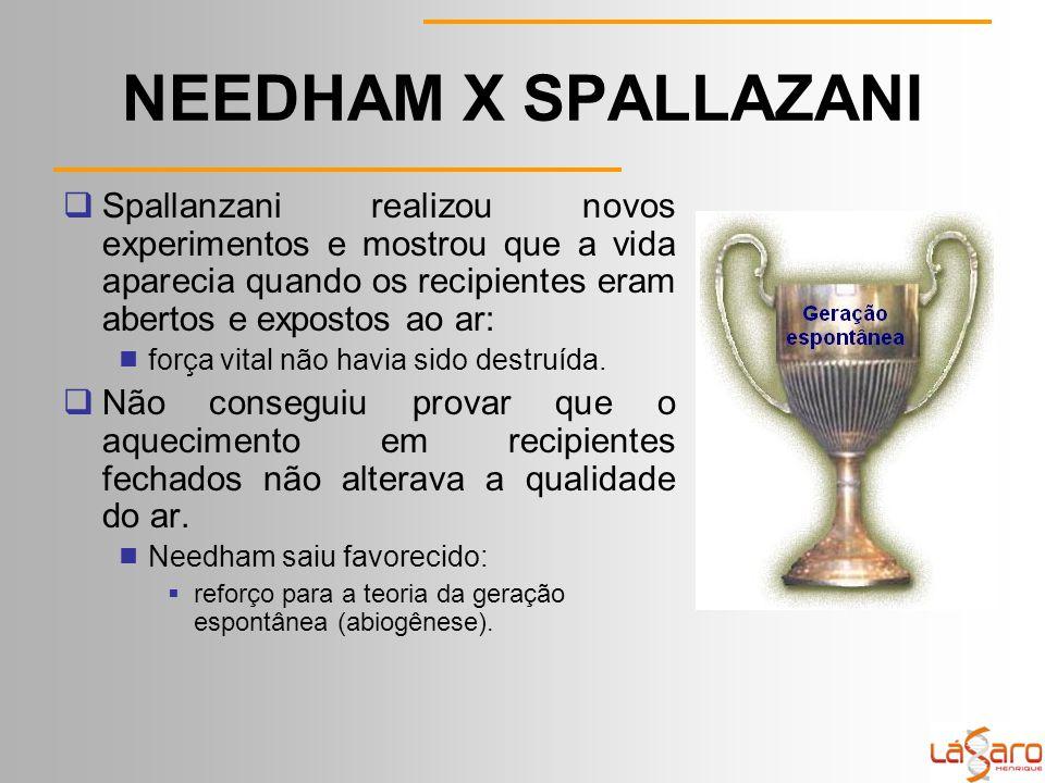 NEEDHAM X SPALLAZANI  Spallanzani realizou novos experimentos e mostrou que a vida aparecia quando os recipientes eram abertos e expostos ao ar:  força vital não havia sido destruída.