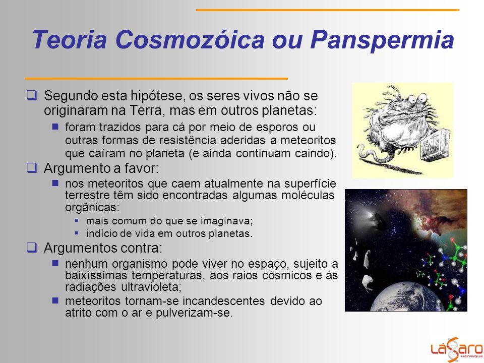 Teoria Cosmozóica ou Panspermia  Segundo esta hipótese, os seres vivos não se originaram na Terra, mas em outros planetas:  foram trazidos para cá por meio de esporos ou outras formas de resistência aderidas a meteoritos que caíram no planeta (e ainda continuam caindo).