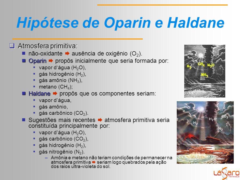 Hipótese de Oparin e Haldane  Atmosfera primitiva:  não-oxidante  ausência de oxigênio (O 2 ).