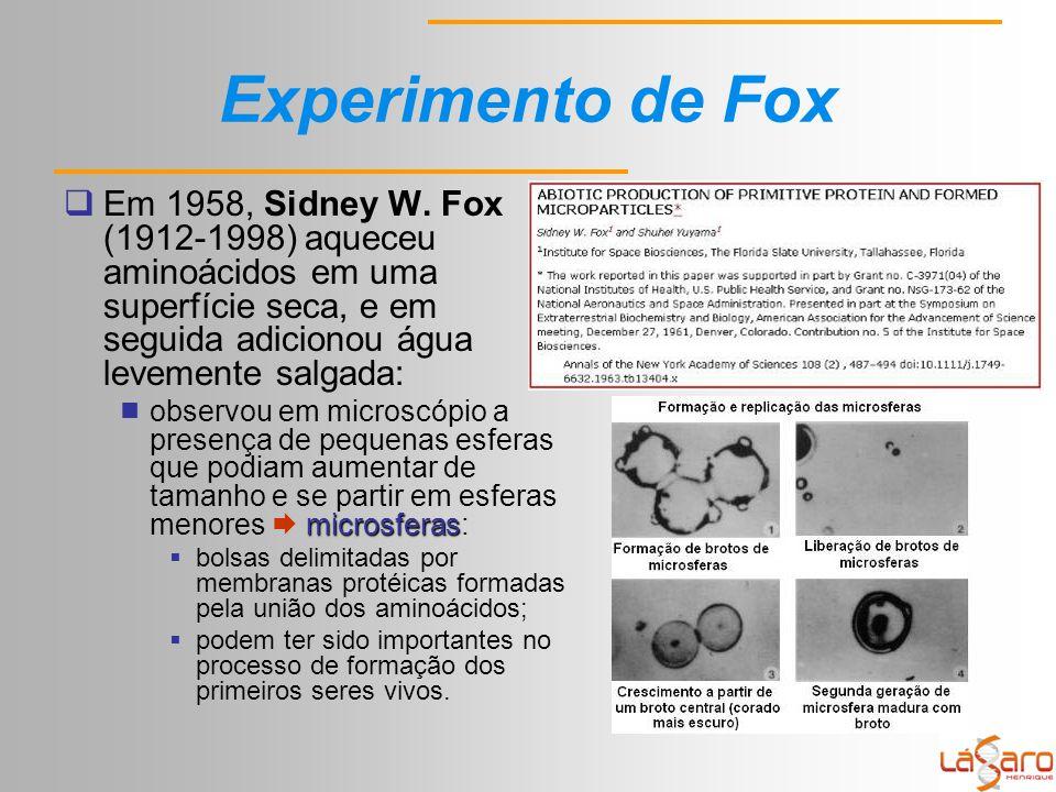 Experimento de Fox  Em 1958, Sidney W.