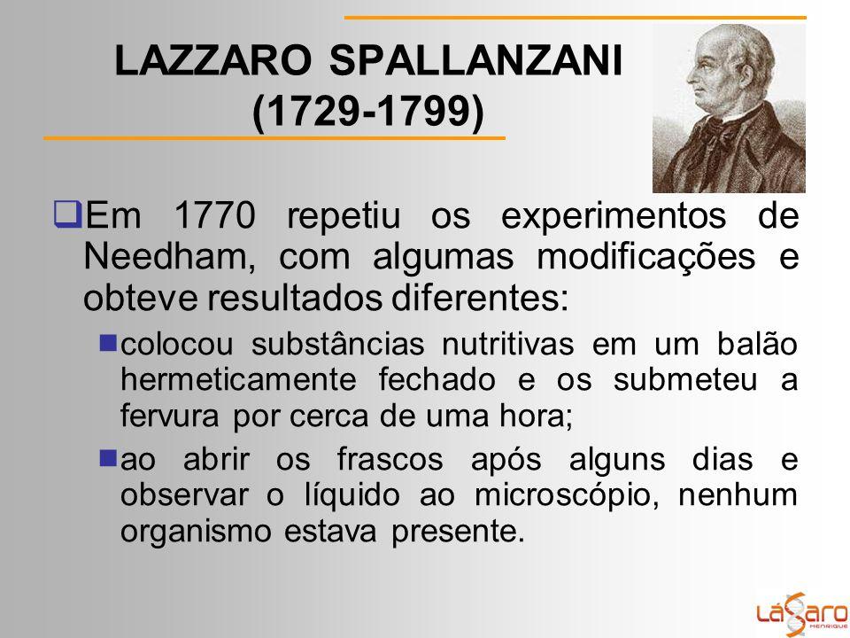 LAZZARO SPALLANZANI (1729-1799)  Em 1770 repetiu os experimentos de Needham, com algumas modificações e obteve resultados diferentes:  colocou substâncias nutritivas em um balão hermeticamente fechado e os submeteu a fervura por cerca de uma hora;  ao abrir os frascos após alguns dias e observar o líquido ao microscópio, nenhum organismo estava presente.