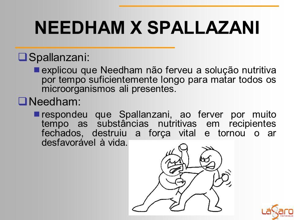 NEEDHAM X SPALLAZANI  Spallanzani:  explicou que Needham não ferveu a solução nutritiva por tempo suficientemente longo para matar todos os microorganismos ali presentes.
