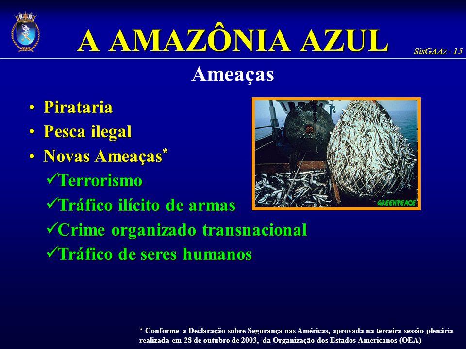 SisGAAz - 15 A AMAZÔNIA AZUL Ameaças PiratariaPirataria Pesca ilegalPesca ilegal Novas Ameaças *Novas Ameaças * Terrorismo Terrorismo Tráfico ilícito