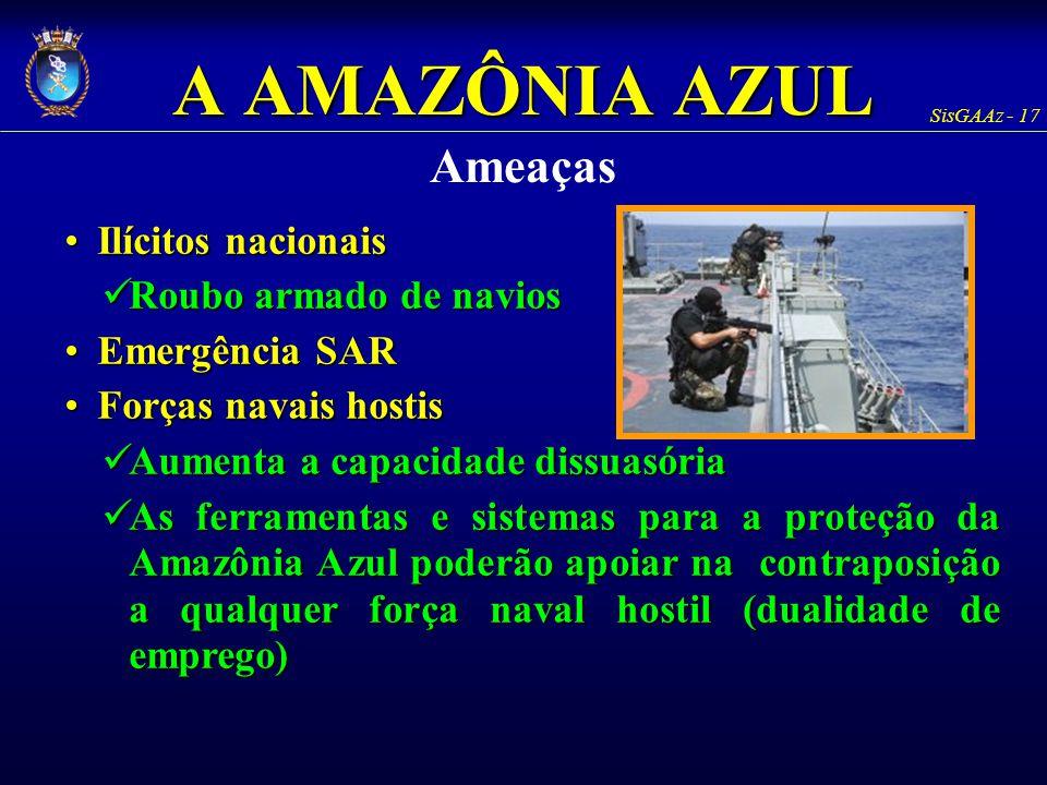 SisGAAz - 17 A AMAZÔNIA AZUL Ameaças Ilícitos nacionaisIlícitos nacionais Roubo armado de navios Roubo armado de navios Emergência SAREmergência SAR F
