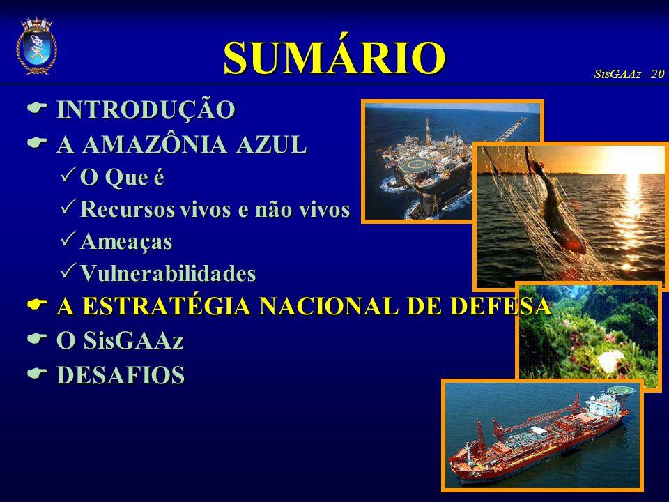 SisGAAz - 20 SUMÁRIO  INTRODUÇÃO  A AMAZÔNIA AZUL  O Que é  Recursos vivos e não vivos  Ameaças  Vulnerabilidades  A ESTRATÉGIA NACIONAL DE DEF