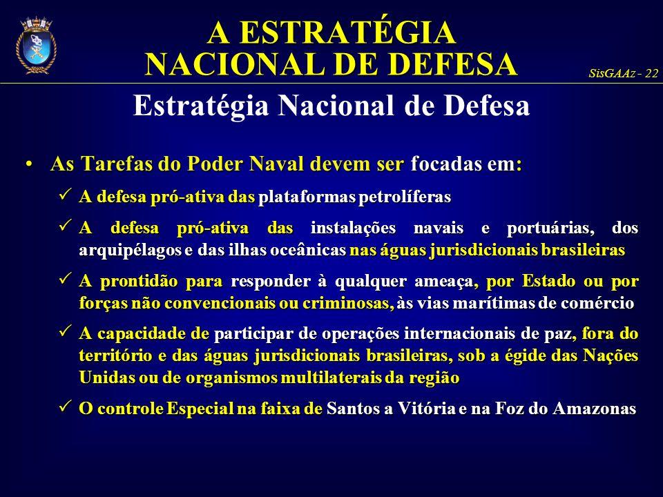 SisGAAz - 22 As Tarefas do Poder Naval devem ser focadas em:As Tarefas do Poder Naval devem ser focadas em:  A defesa pró-ativa das plataformas petro