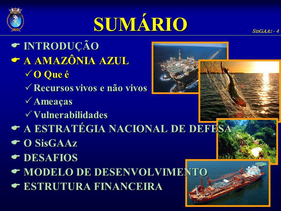 SisGAAz - 25 SUMÁRIO  INTRODUÇÃO  A AMAZÔNIA AZUL  O Que é  Recursos vivos e não vivos  Ameaças  Vulnerabilidades  A ESTRATÉGIA NACIONAL DE DEFESA  O SisGAAz  DESAFIOS