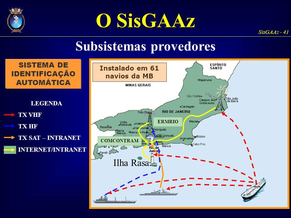 SisGAAz - 41 Ilha Rasa ERMRIO COMCONTRAM LEGENDA Instalado em 61 navios da MB TX VHF TX HF TX SAT – INTRANET INTERNET/INTRANET SISTEMA DE IDENTIFICAÇÃ