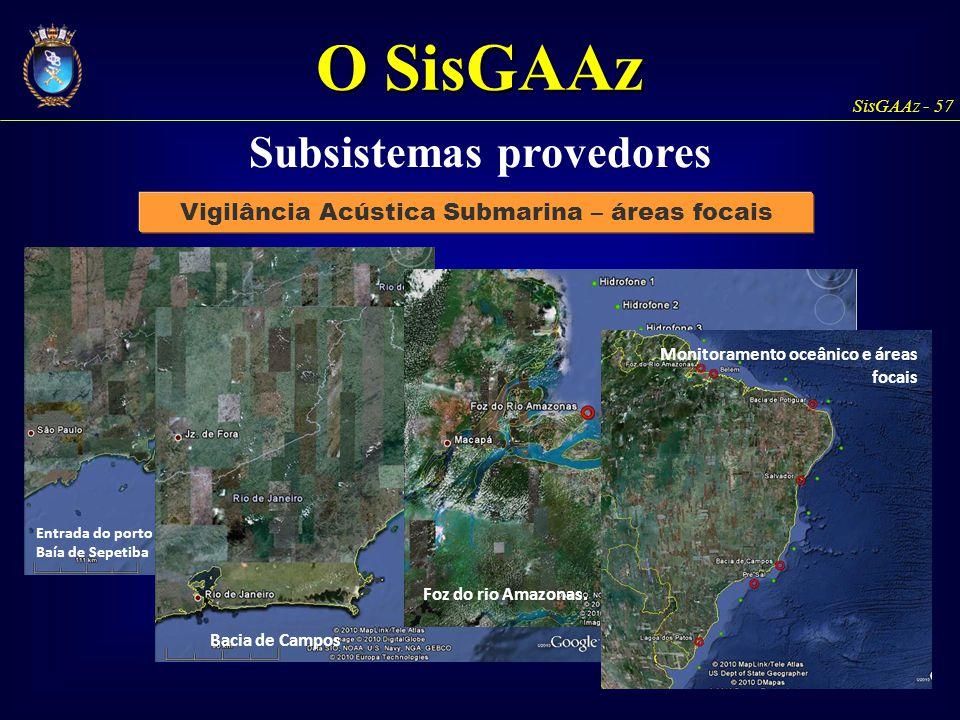 SisGAAz - 57 Vigilância Acústica Submarina – áreas focais Subsistemas provedores Entrada do porto do Rio de Janeiro e da Baía de Sepetiba Bacia de Cam