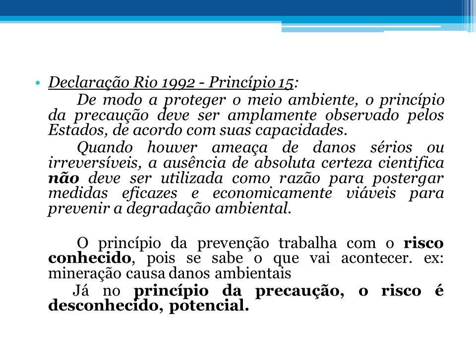 Declaração Rio 1992 - Princípio 15: De modo a proteger o meio ambiente, o princípio da precaução deve ser amplamente observado pelos Estados, de acord