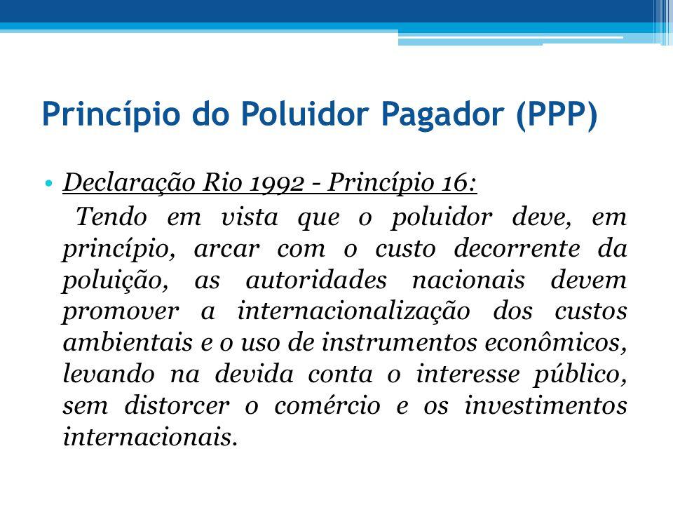Princípio do Poluidor Pagador (PPP) Declaração Rio 1992 - Princípio 16: Tendo em vista que o poluidor deve, em princípio, arcar com o custo decorrente
