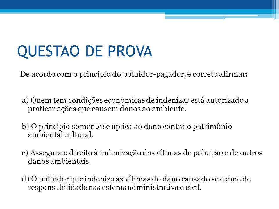 QUESTAO DE PROVA De acordo com o princípio do poluidor-pagador, é correto afirmar: a) Quem tem condições econômicas de indenizar está autorizado a pra