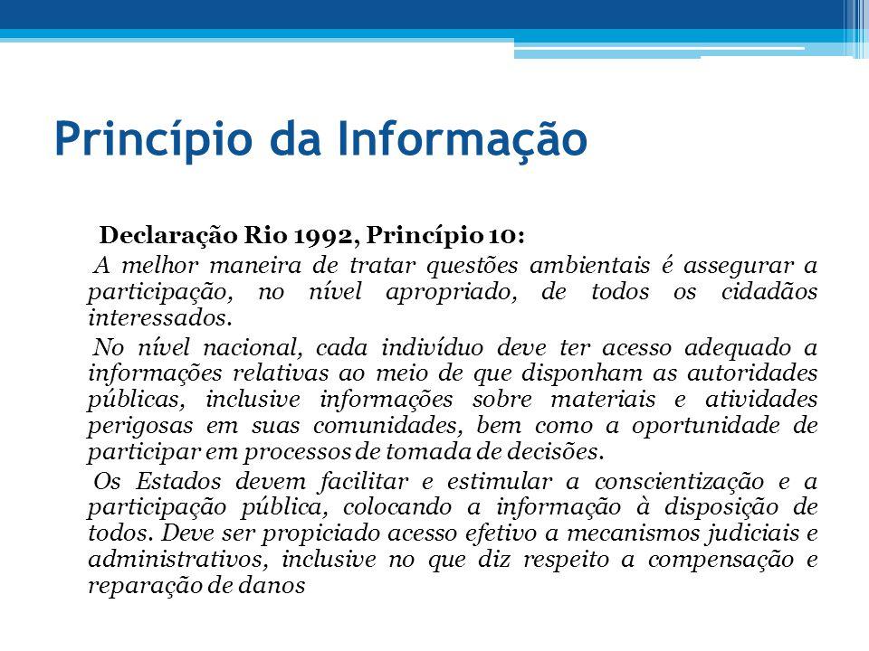 Princípio da Informação Declaração Rio 1992, Princípio 10: A melhor maneira de tratar questões ambientais é assegurar a participação, no nível apropri