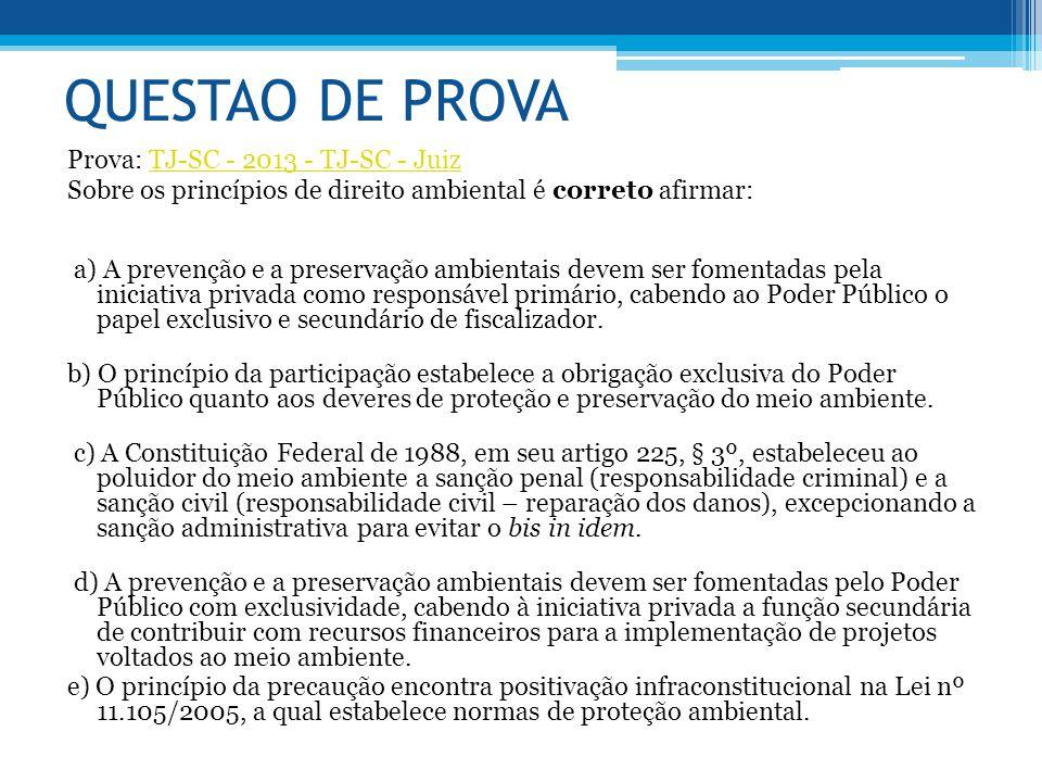 QUESTAO DE PROVA Prova: TJ-SC - 2013 - TJ-SC - JuizTJ-SC - 2013 - TJ-SC - Juiz Sobre os princípios de direito ambiental é correto afirmar: a) A preven