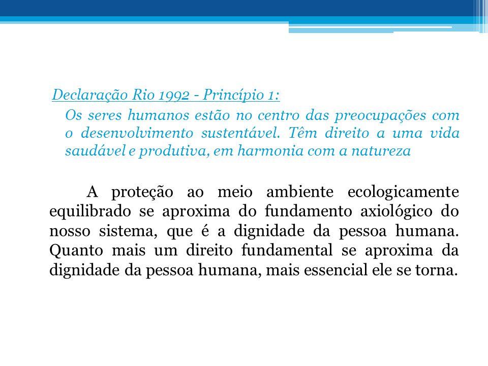 Declaração Rio 1992 - Princípio 1: Os seres humanos estão no centro das preocupações com o desenvolvimento sustentável. Têm direito a uma vida saudáve