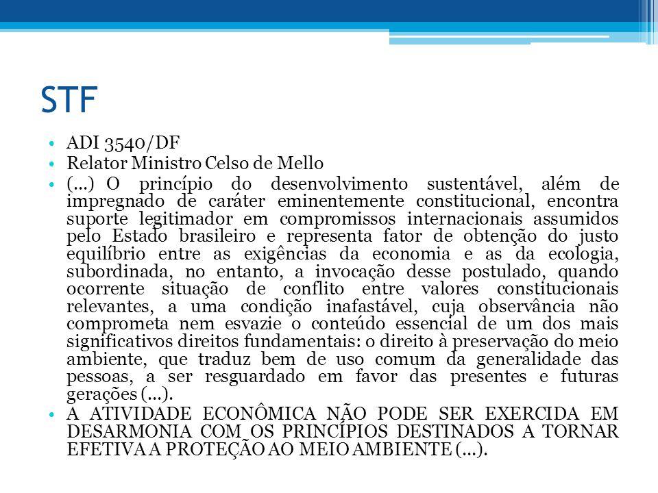 STF ADI 3540/DF Relator Ministro Celso de Mello (...) O princípio do desenvolvimento sustentável, além de impregnado de caráter eminentemente constitu