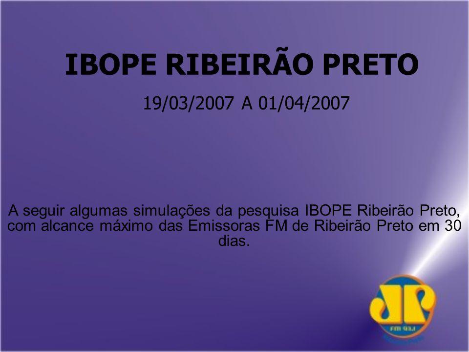 IBOPE RIBEIRÃO PRETO 19/03/2007 A 01/04/2007 A seguir algumas simulações da pesquisa IBOPE Ribeirão Preto, com alcance máximo das Emissoras FM de Ribeirão Preto em 30 dias.