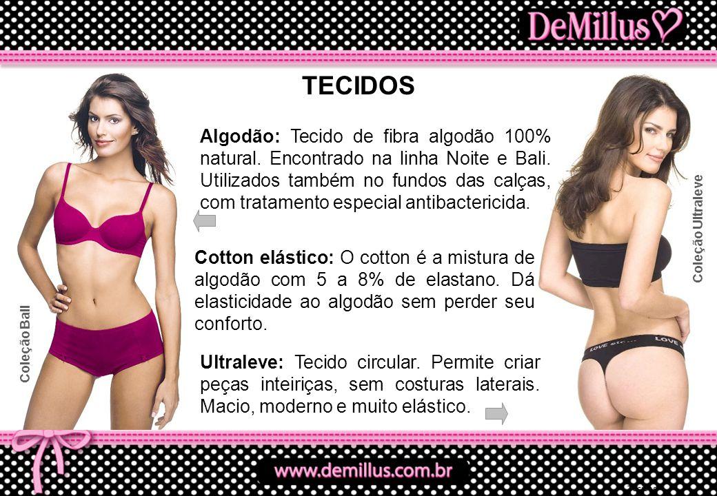 Tecidos TECIDOS Algodão: Tecido de fibra algodão 100% natural. Encontrado na linha Noite e Bali. Utilizados também no fundos das calças, com tratament