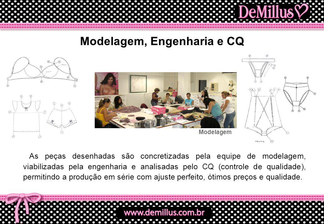 Mod, Eng e CQ As peças desenhadas são concretizadas pela equipe de modelagem, viabilizadas pela engenharia e analisadas pelo CQ (controle de qualidade