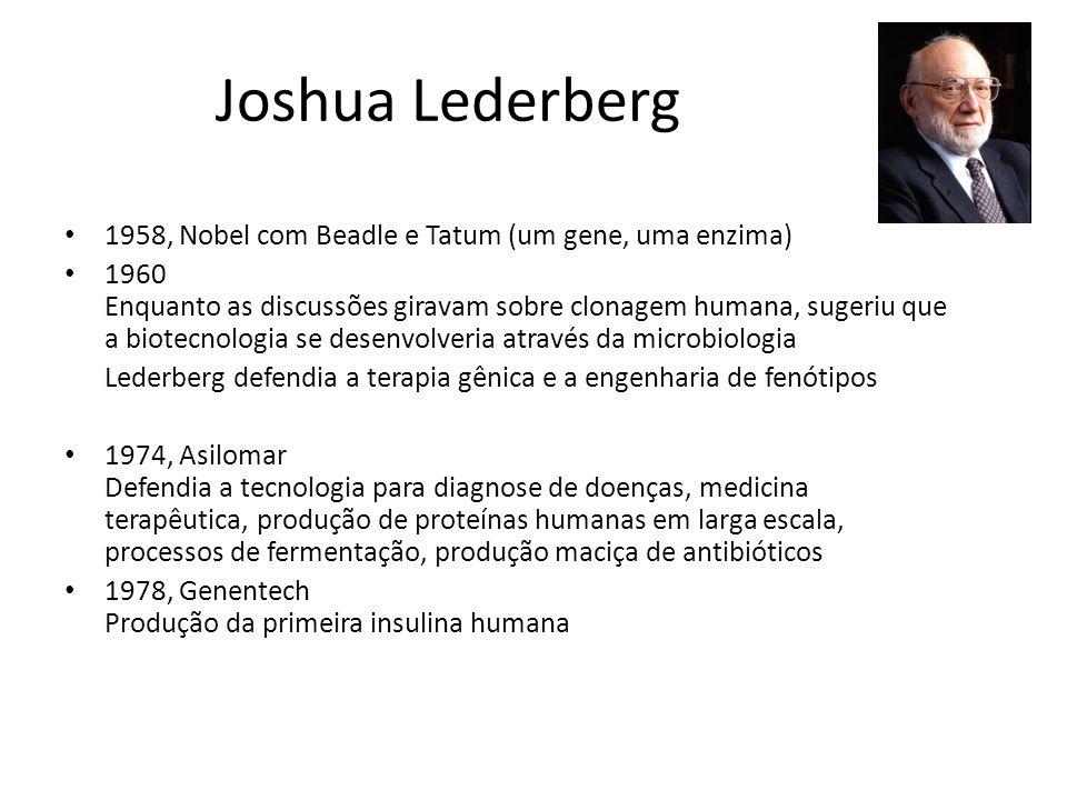 Joshua Lederberg 1958, Nobel com Beadle e Tatum (um gene, uma enzima) 1960 Enquanto as discussões giravam sobre clonagem humana, sugeriu que a biotecn