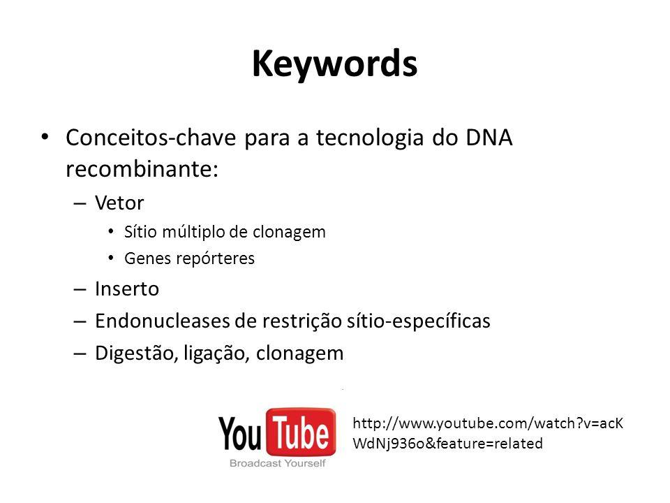 Keywords Conceitos-chave para a tecnologia do DNA recombinante: – Vetor Sítio múltiplo de clonagem Genes repórteres – Inserto – Endonucleases de restr