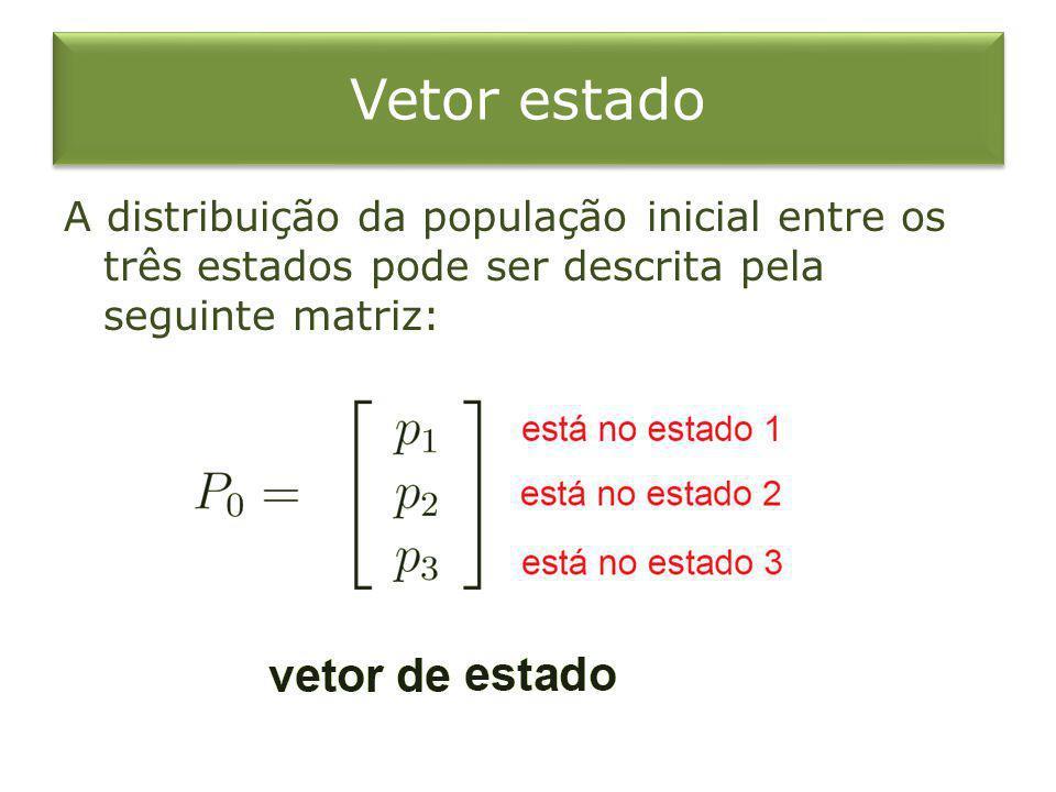 Vetor estado A distribuição da população inicial entre os três estados pode ser descrita pela seguinte matriz: