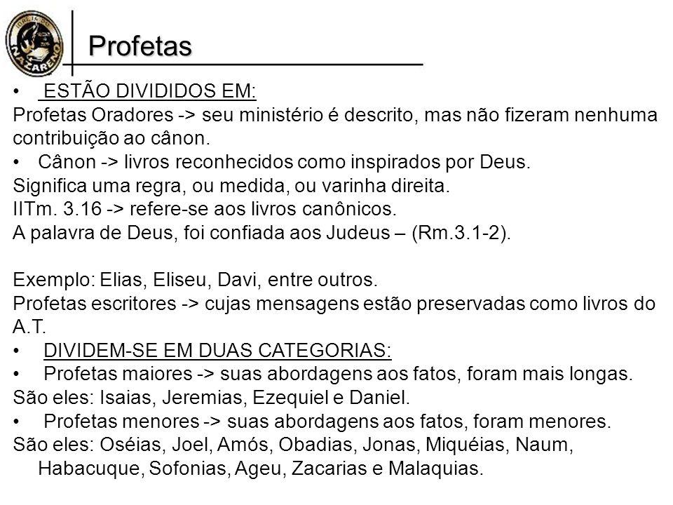 Profetas ESTÃO DIVIDIDOS EM: Profetas Oradores -> seu ministério é descrito, mas não fizeram nenhuma contribuição ao cânon. Cânon -> livros reconhecid