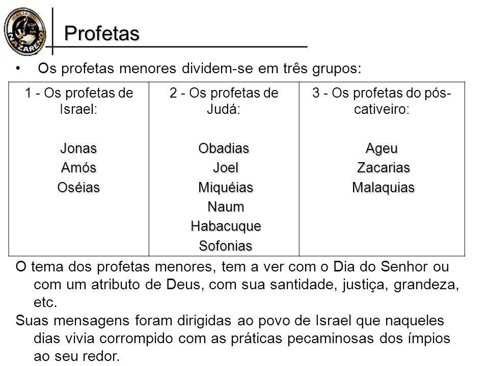 Profetas Os profetas menores dividem-se em três grupos: O tema dos profetas menores, tem a ver com o Dia do Senhor ou com um atributo de Deus, com sua