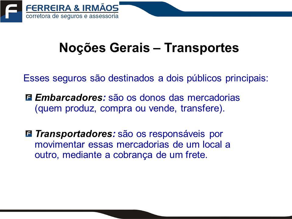 Subdivisões dos Seguros de Transportes Seguros de Transportes Transportes Marítimos Transporte Fluvial ou Lacustre Transportes Aéreos Transportes Terrestres