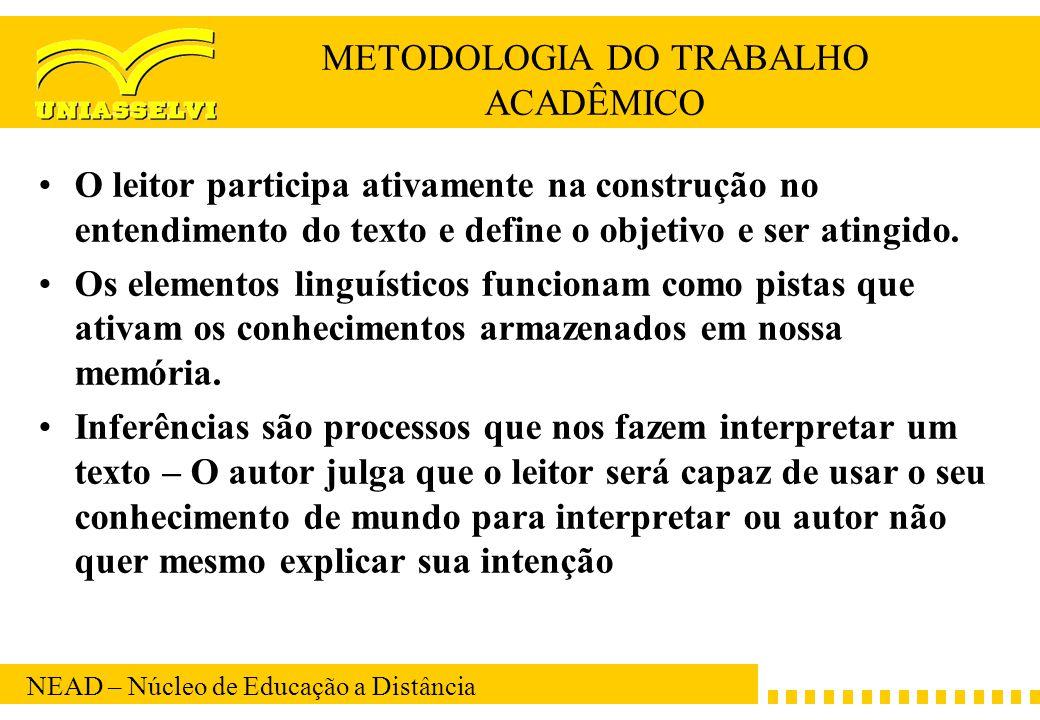 NEAD – Núcleo de Educação a Distância METODOLOGIA DO TRABALHO ACADÊMICO O leitor participa ativamente na construção no entendimento do texto e define