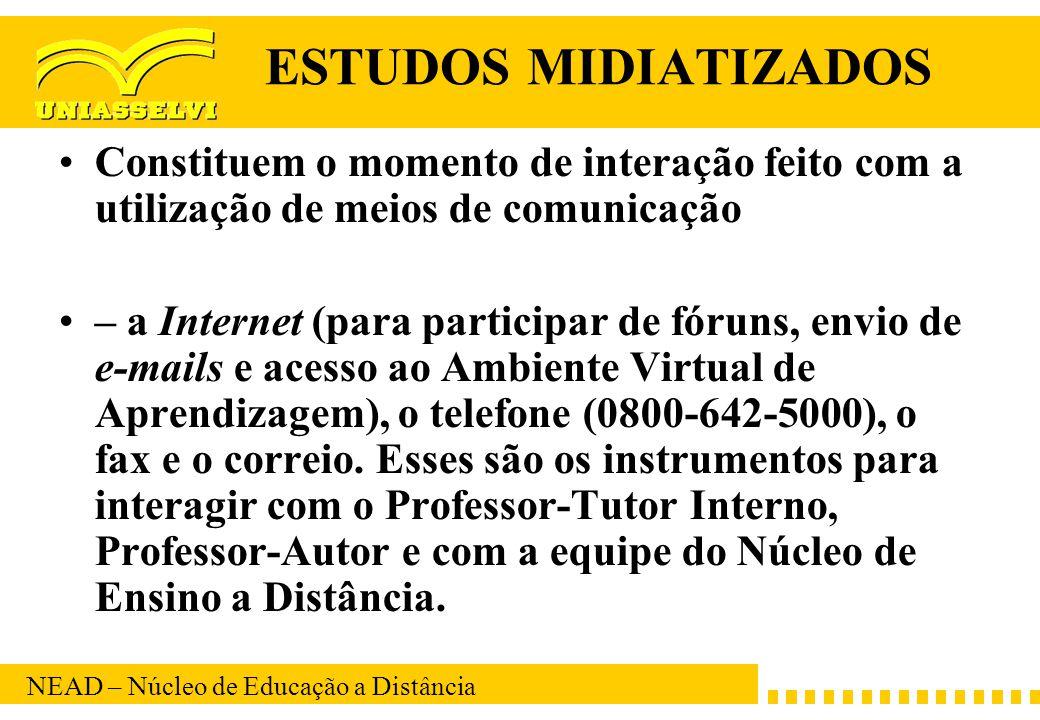 NEAD – Núcleo de Educação a Distância ESTUDOS MIDIATIZADOS Constituem o momento de interação feito com a utilização de meios de comunicação – a Intern