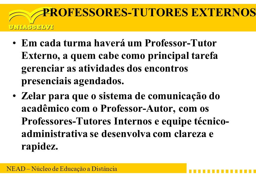 NEAD – Núcleo de Educação a Distância PROFESSORES-TUTORES EXTERNOS Em cada turma haverá um Professor-Tutor Externo, a quem cabe como principal tarefa