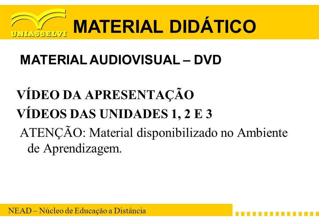 NEAD – Núcleo de Educação a Distância VÍDEO DA APRESENTAÇÃO VÍDEOS DAS UNIDADES 1, 2 E 3 ATENÇÃO: Material disponibilizado no Ambiente de Aprendizagem