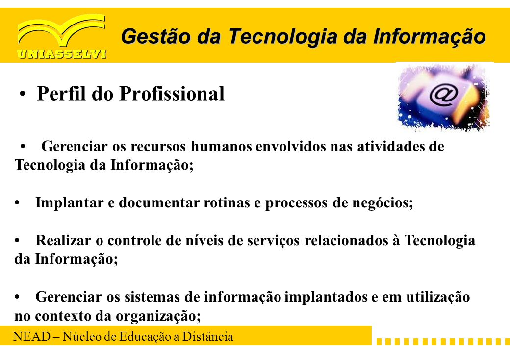 NEAD – Núcleo de Educação a Distância Gestão da Tecnologia da Informação Perfil do Profissional Gerenciar os recursos humanos envolvidos nas atividade