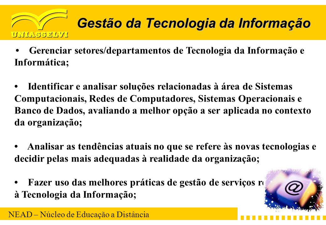 NEAD – Núcleo de Educação a Distância Gestão da Tecnologia da Informação Gerenciar setores/departamentos de Tecnologia da Informação e Informática; Id