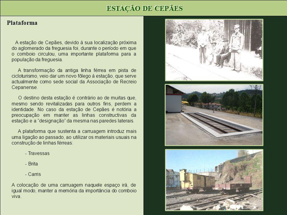 A estação de Cepães, devido à sua localização próxima do aglomerado da freguesia foi, durante o período em que o comboio circulou, uma importante plat