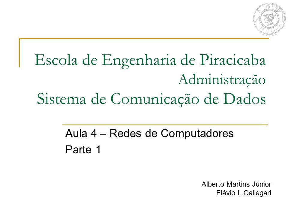 Escola de Engenharia de Piracicaba Administração Sistema de Comunicação de Dados Aula 4 – Redes de Computadores Parte 1 Alberto Martins Júnior Flávio