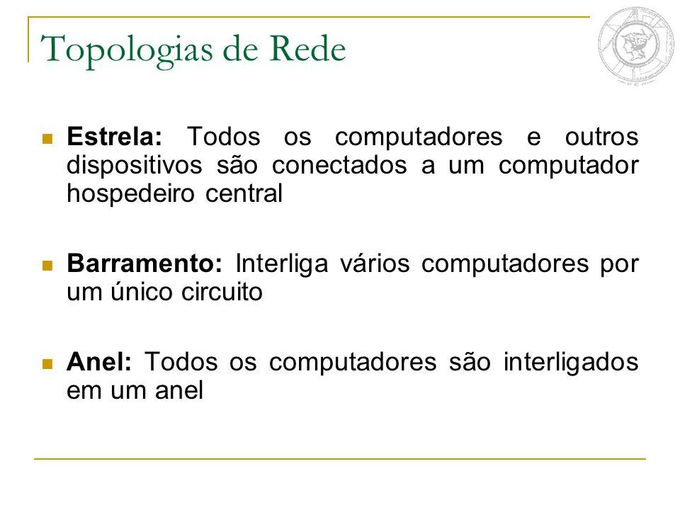 Topologias de Rede Estrela: Todos os computadores e outros dispositivos são conectados a um computador hospedeiro central Barramento: Interliga vários