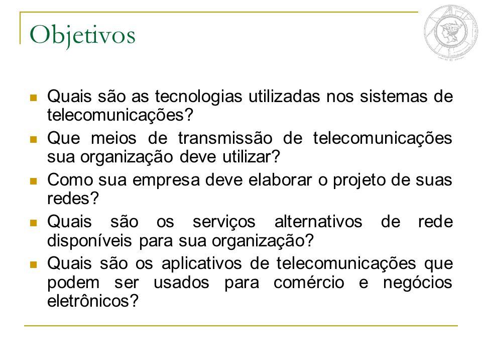 Objetivos Quais são as tecnologias utilizadas nos sistemas de telecomunicações? Que meios de transmissão de telecomunicações sua organização deve util