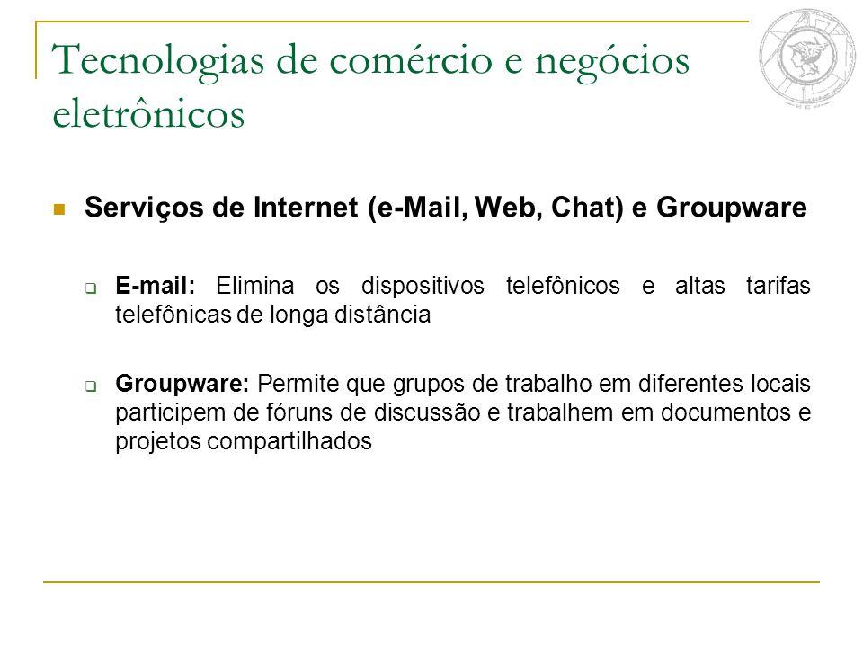 Tecnologias de comércio e negócios eletrônicos Serviços de Internet (e-Mail, Web, Chat) e Groupware  E-mail: Elimina os dispositivos telefônicos e al