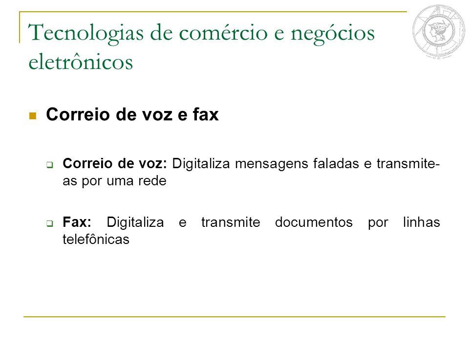Tecnologias de comércio e negócios eletrônicos Correio de voz e fax  Correio de voz: Digitaliza mensagens faladas e transmite- as por uma rede  Fax: