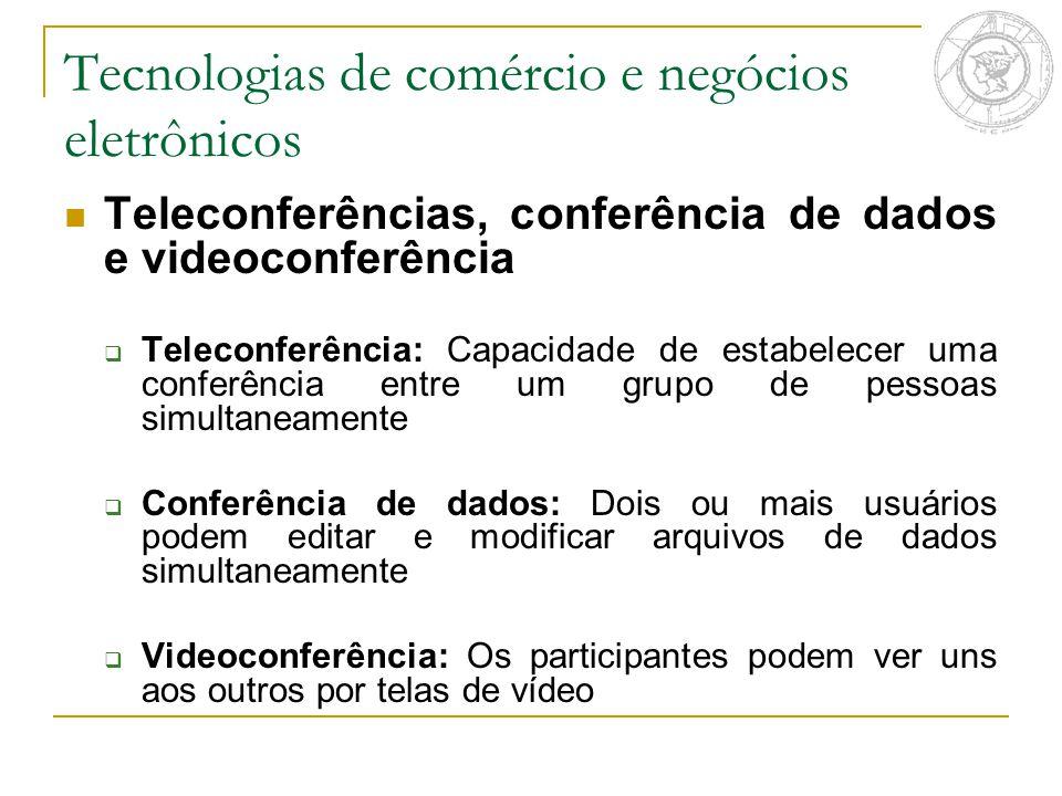 Tecnologias de comércio e negócios eletrônicos Teleconferências, conferência de dados e videoconferência  Teleconferência: Capacidade de estabelecer