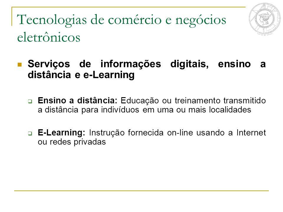 Serviços de informações digitais, ensino a distância e e-Learning  Ensino a distância: Educação ou treinamento transmitido a distância para indivíduo