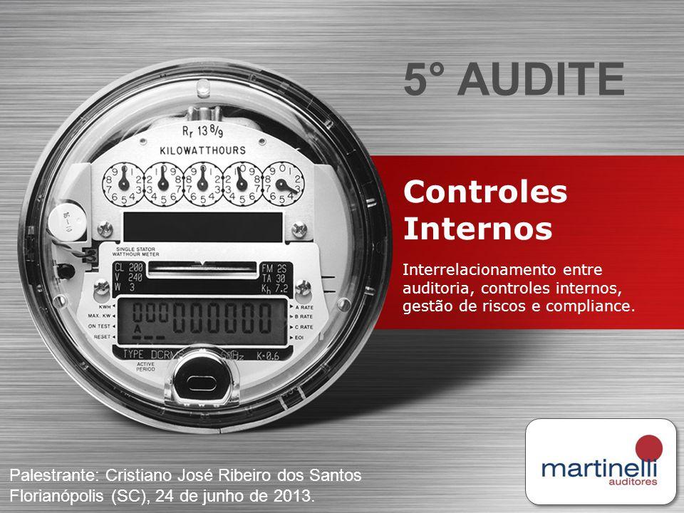 Controles Internos Interrelacionamento entre auditoria, controles internos, gestão de riscos e compliance. 5° AUDITE Palestrante: Cristiano José Ribei