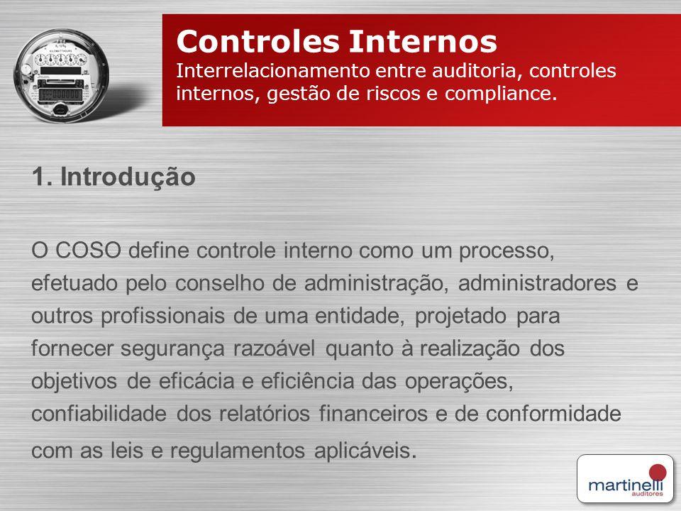 Controles Internos Interrelacionamento entre auditoria, controles internos, gestão de riscos e compliance. 1. Introdução O COSO define controle intern